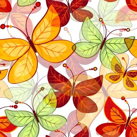 spotty: Seamless vivid  autumn pattern with translucent butterflies