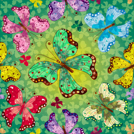 Seamless vivid green spring pattern with translucent butterflies Stock Vector - 18061412