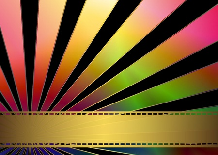 Black business card with rainbow rays and gold  translucent strip Vector