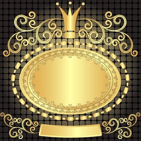 Decorative gold oval vintage frame on dark pattern (vector) Illustration