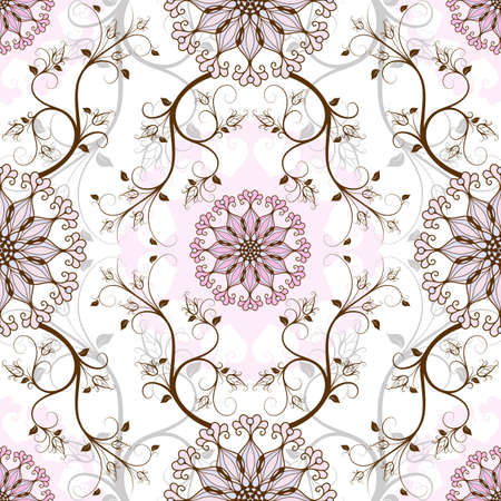 Gentle pastel seamless background with round pink-blue flowers  vector