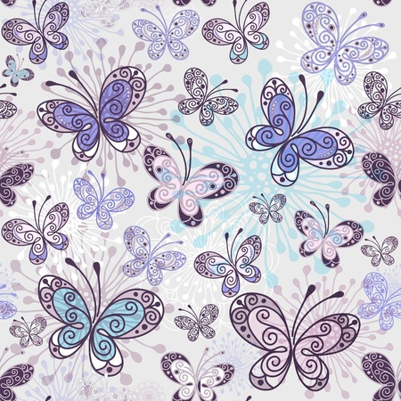purple swirls: Pink-violet-blue seamless pattern with transparent butterflies (vector EPS 10)