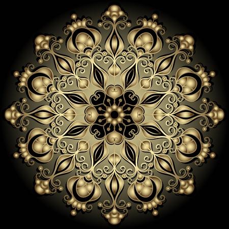 Decorative gold round vintage frame on black (vector)