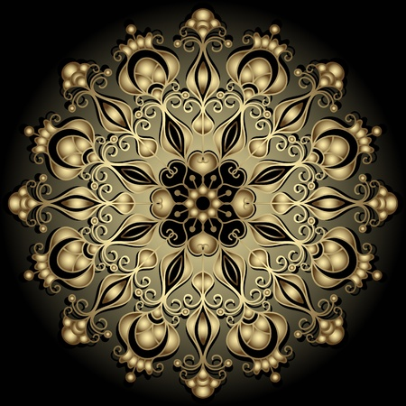 Decorative gold round vintage frame on black (vector) Vector