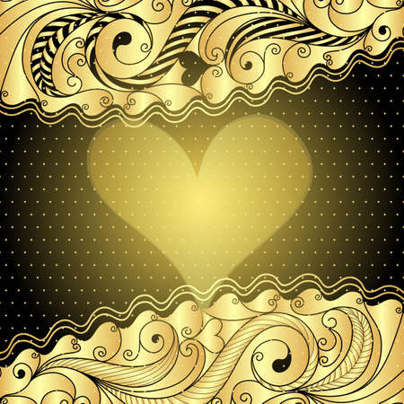 Vintage golden valentine floral frame with heart Vector