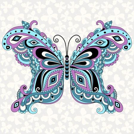 tattoo butterfly: Decorative fantasia farfalla vintage con grigio senza soluzione di modello (vettore)