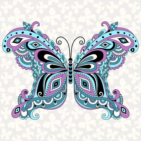butterfly tattoo: Decorative fantasy vintage butterfly with grey seamless pattern (vector)