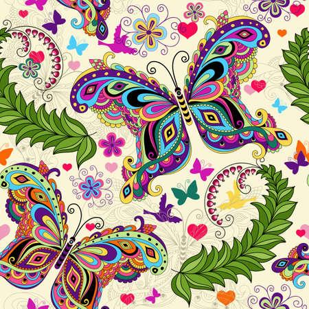 silhouette papillon: Seamless valentine colorés papillons de cru et les fleurs et les coeurs