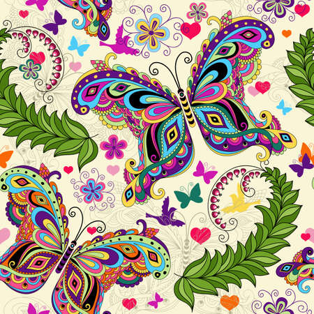 purple butterfly: Seamless valentine pattern with colorful vintage butterflies and flowers and hearts