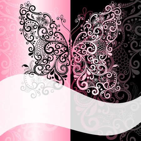 lacy: Pink-black frame with vintage  butterfly and white translucent wave strip
