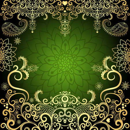 Green and gold luxurious filigree vintage floral frame Vector