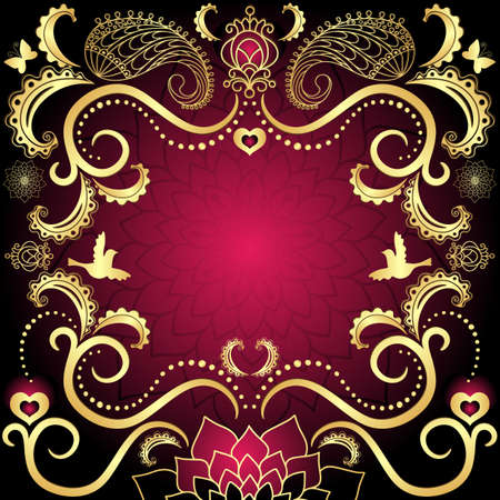 paisley background: Purple-gold vintage valentine frame with red  hearts, birds and flowers (vector)