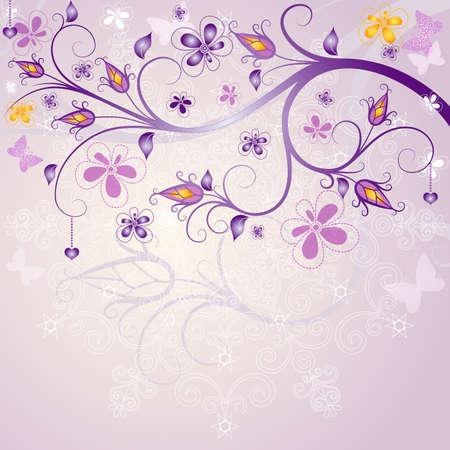 purple butterfly: Spring pink floral easter frame with branch, flowers and butterflies