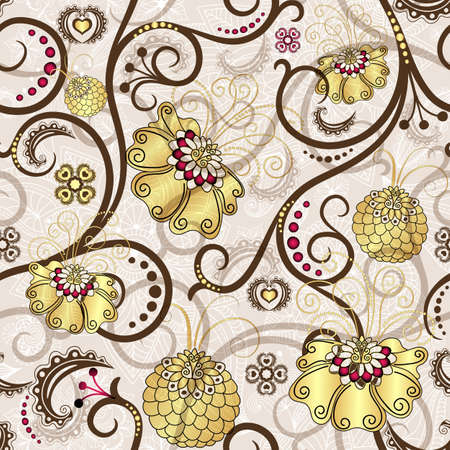 Easter seamless pattern with brown curls and gold flowers