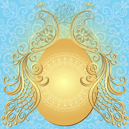 Gold-blue easter frame with big gold egg and vintage birds (vector EPS 10) Vector