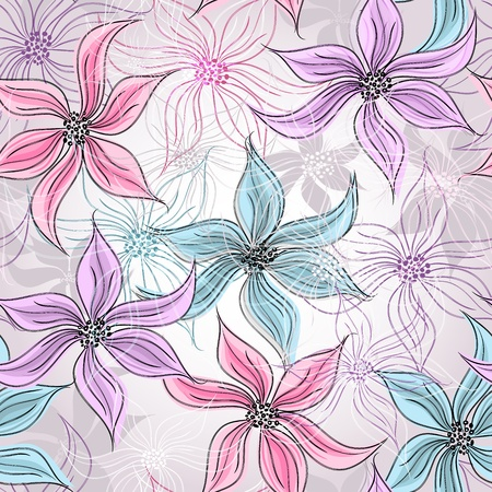 Seamless silvery floral pattern with colorful pastel flowers Stock Vector - 18549635