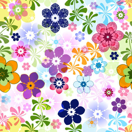 Spring colorful seamless floral pattern with transparent flowers (vector EPS 10) Illustration