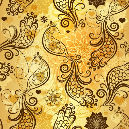 scattering: Gold repeating pattern with stylized birds and vintage flowers and hearts (vector eps 10)