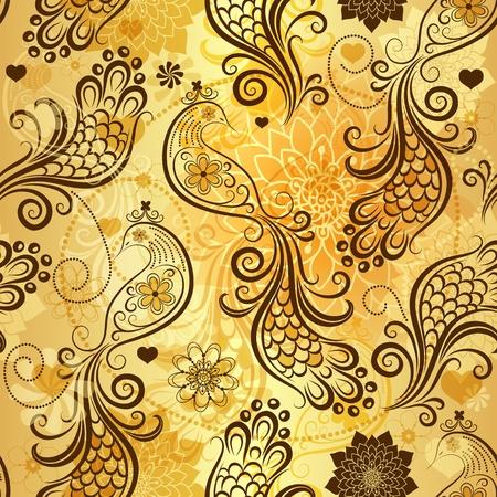 effortless: Patr�n oro repitiendo con aves estilizadas y flores de �poca y los corazones (vector eps 10) Vectores