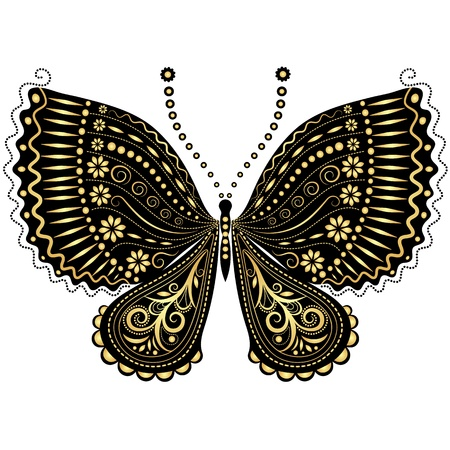 white butterfly: Decorative fantasy gold and black vintage butterfly on white Illustration