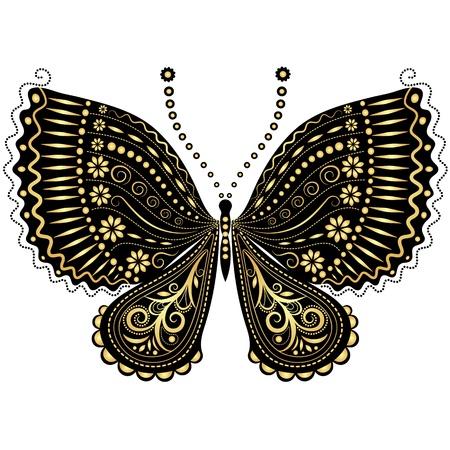 trabajo manual: Oro decorativo fantasía y la mariposa del vintage en negro sobre blanco Vectores