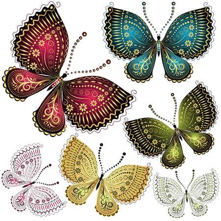 mariposa azul: Establecer fantasía coloridas mariposas mariposa del vintage