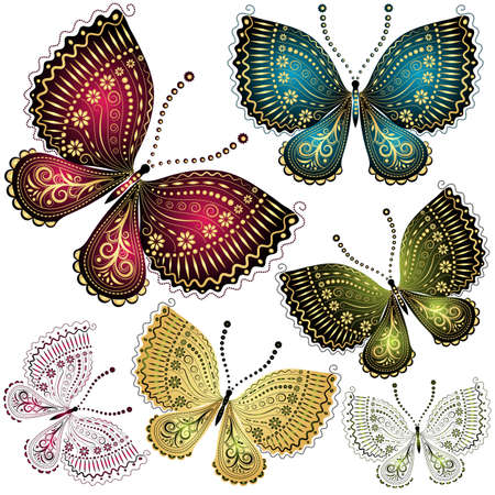 blue butterfly: Set fantasy colorful vintage butterfly butterflies