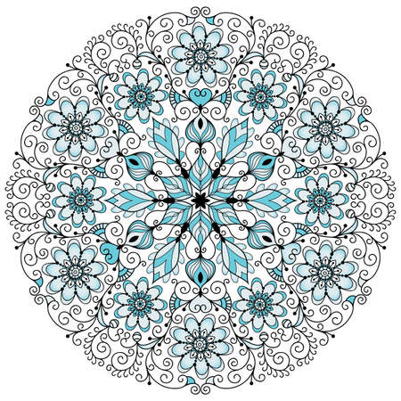 Round blue-gray-black floral lacy vintage pattern on white