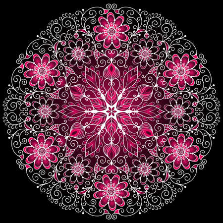 White-purple round floral vintage pattern on black Vector
