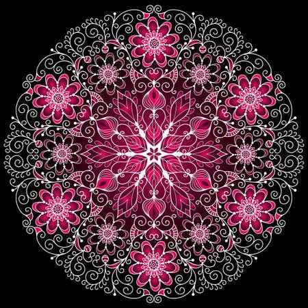 filigree swirl: White-purple round floral vintage pattern on black