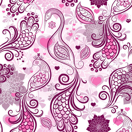 paisley background: Pink-purple repeating vintage pattern with stylized birds and flowers and hearts