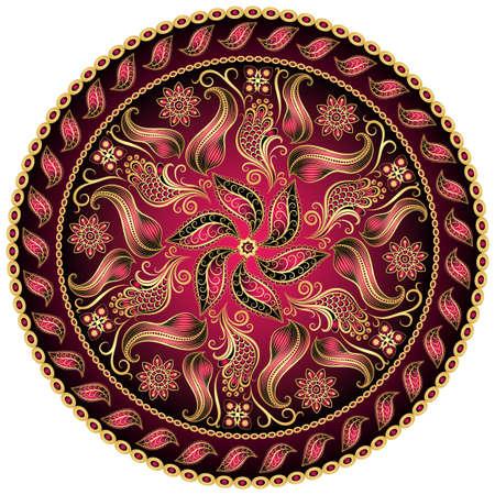 Round gold-purple-black vintage pattern on white
