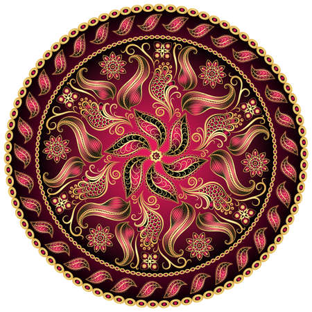 mandala tattoo: Round gold-purple-black vintage pattern on white