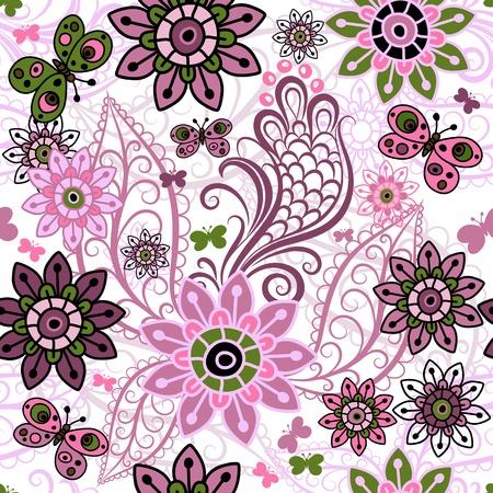 motley: Seamless pattern di primavera Motley con colorate farfalle d'epoca e fiori