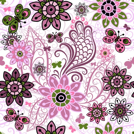 Seamless spring motley pattern with colorful vintage butterflies and flowers  Vector