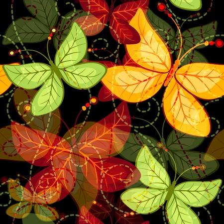 Seamless dark vivid autumn pattern with translucent butterflies  and curls