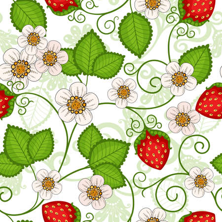Seamless spring pattern with strawberries and flowers  Vector