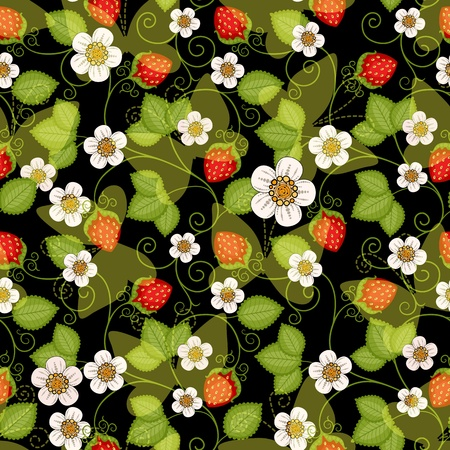Seamless spring dark floral pattern with strawberries and flowers and translucent butterflies (vector EPS 10) Vector