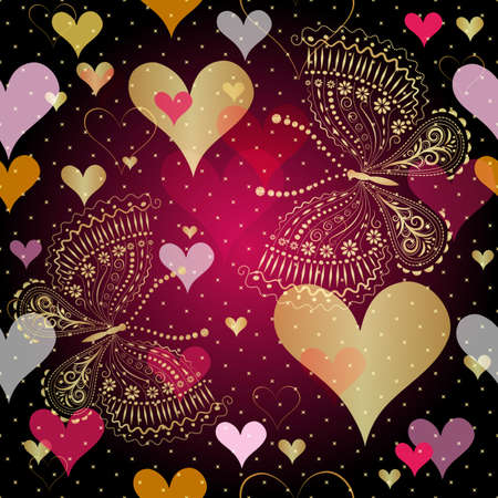 scattering: Seamless vivid valentine pattern with gold decorative hearts and butterflies