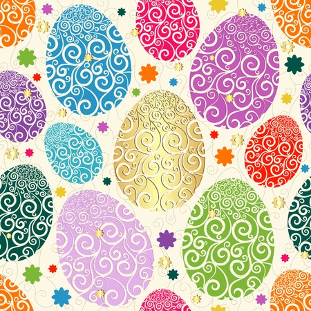 laced: Easter seamless pattern with colorful painted eggs laced (vector) Illustration