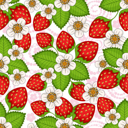 Seamless spring floral pattern with strawberries and flowers (vector) Vector