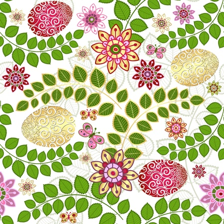 Easter seamless floral pattern with colorful gold and red eggs and green leaves (vector) Stock Vector - 18786524
