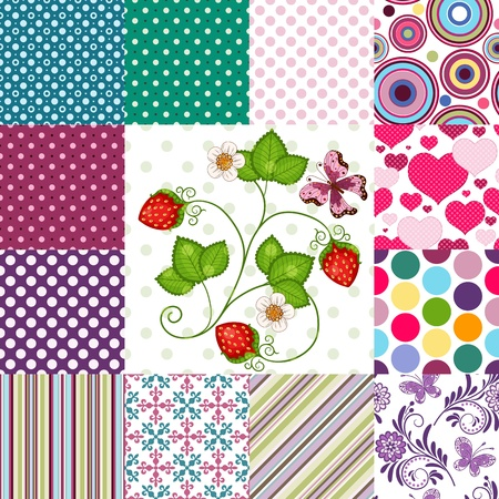 pea: Collection seamless colorful patterns with polka dots and strips and floral (vector EPS10)