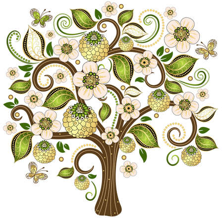 Spring isolated tree on a white with gold and green  leaves,  flowers and butterflies  vector