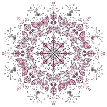 Lacy pastel round vintage pattern on white  vector