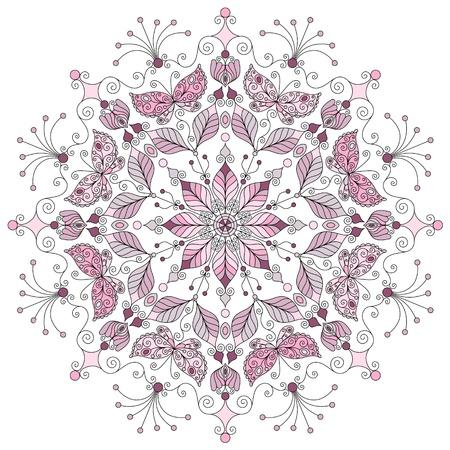 mandala flower: Lacy pastel round vintage pattern on white  vector