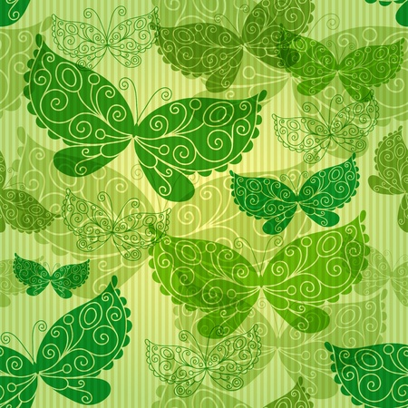 Spring green seamless pattern with transparent butterflies and strips (vector EPS 10) Stock Vector - 18855128