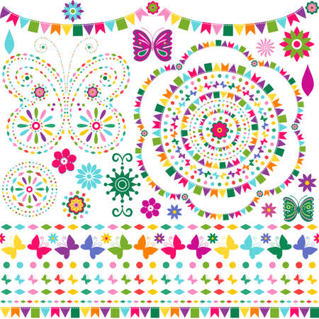 Set colorful design elements for scrapbooking isolated on white and seamless patterned lines (vector) Vector