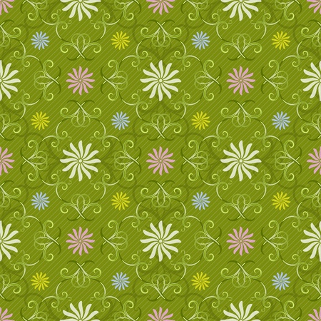 Seamless spring green pattern with vintage curls and pastel flowers and diagonal strips  Vector