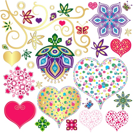 star tattoo: Set colorful design elements with hearts for scrapbooking isolated on white  (vector)